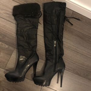 Marciano black thigh high boots